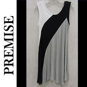 NWT PREMISE COLORBLOCK ASYMMETRICAL DRESS